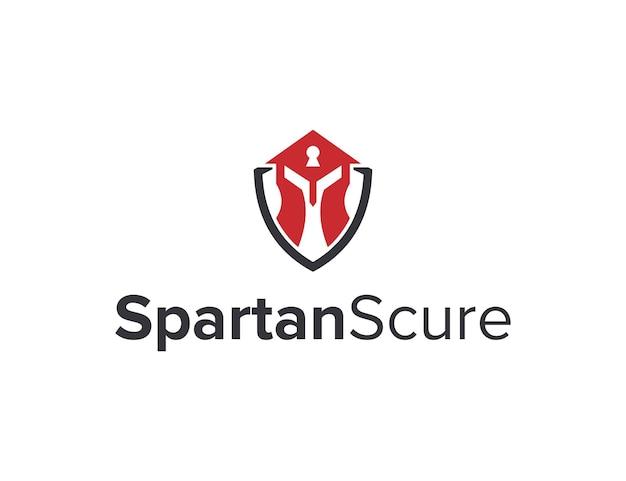 Espartano com buraco de fechadura e escudo design de logotipo geométrico moderno simples e elegante