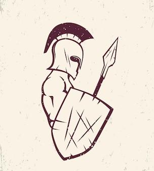 Espartano com lança e escudo, forte guerreiro no capacete