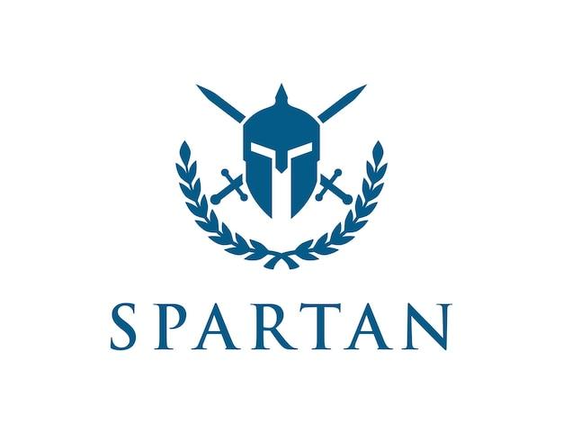 Espartano e espadas simples, elegante, criativo, geométrico, moderno, design de logotipo