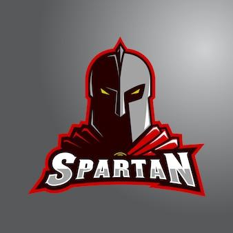 Espartano vermelho com logo wordmark e-sport
