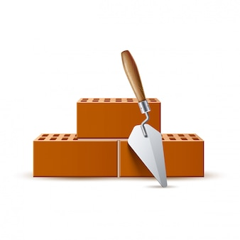 Espátula 3d com trabalho industrial de tijolos