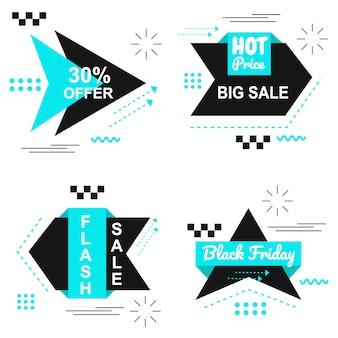 Especial black friday azul banner set vector