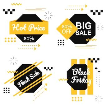 Especial black friday banner amarelo set vector