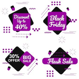 Especial black friday purple banner set vector