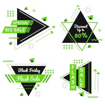 Especial preto sexta-feira verde banner set vector