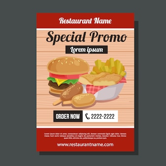 Especial promo hambúrguer chips flyer modelo junk food