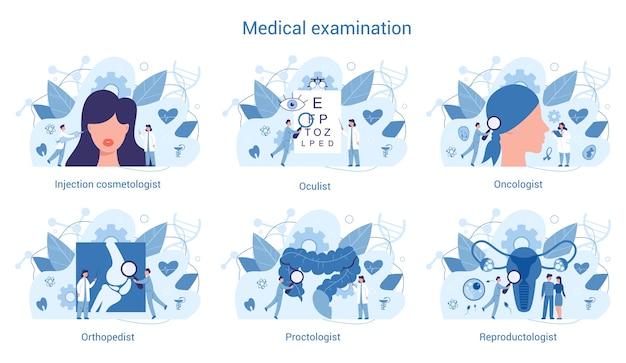 Especialidade médica e conjunto de exames. terapeuta e urologista,