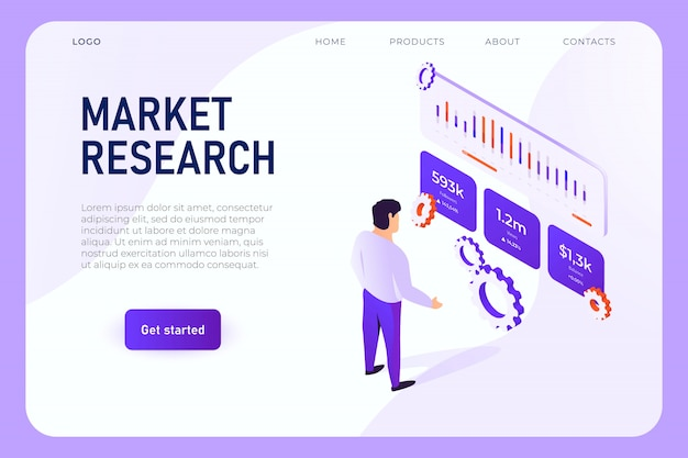 Especialista em analisar gráficos de vendas, gráficos de seguidores, diagrama de crescimento de renda. conceito de página da web de pesquisa de marketing, vetor