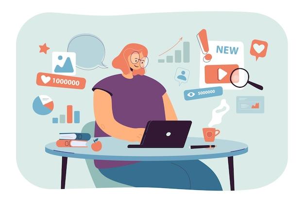 Especialista em análise de conteúdo trabalhando em estratégia de smm de sucesso. ilustração plana