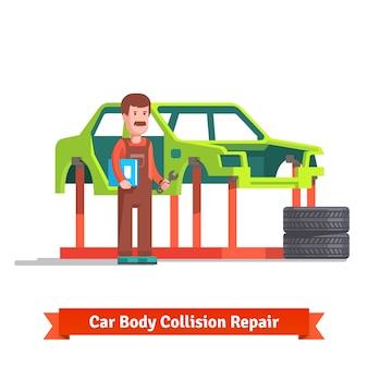 Especialista em centros de reparação de colisão que verifica o carro