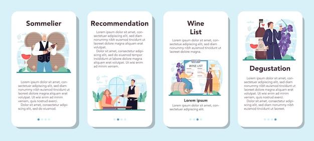 Especialista em conjunto de banner de aplicativo móvel sommelier com um copo