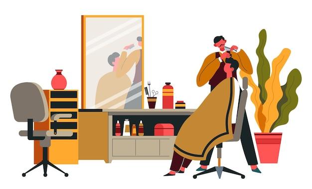 Especialista em cuidados de penteado de cliente, interior de barbearia e serviços para cavalheiros. sala com loções e cadeiras, espelho grande e elementos decorativos de plantas de interior para o local. vetor em estilo simples