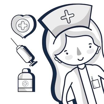 Especialista em enfermagem com elementos hospitalares