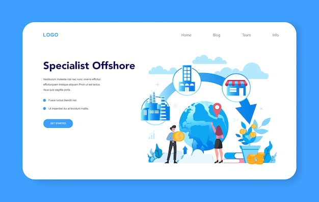 Especialista offshore ou banner da web ou página de destino da empresa