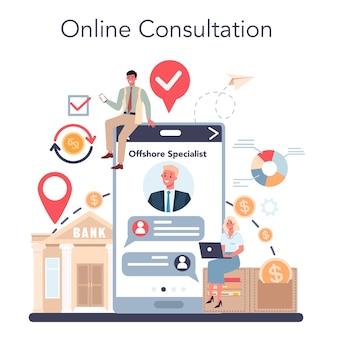 Especialista offshore ou serviço ou plataforma online da empresa.