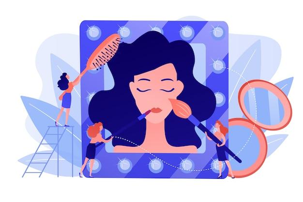 Especialistas em tratamento cosmético para rosto e cabelo feminino. salão de beleza, salão de beleza, conceito de tratamentos cosméticos profissionais. ilustração de vetor isolado de coral rosa