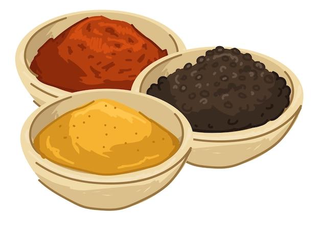 Especiarias asiáticas e temperos para alimentos e farinha em pó