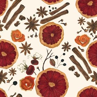 Especiarias de inverno natal em aquarela sem costura padrão rastreada