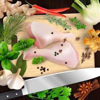 Especiarias e ervas e carne de frango