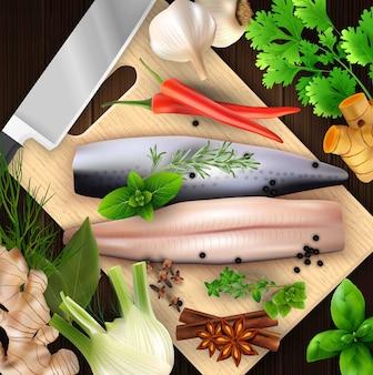 Especiarias e ervas e frutos do mar com tábua e faca