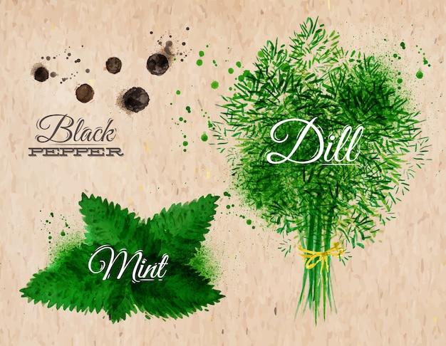 Especiarias ervas aquarela pimenta preta, hortelã, kraft