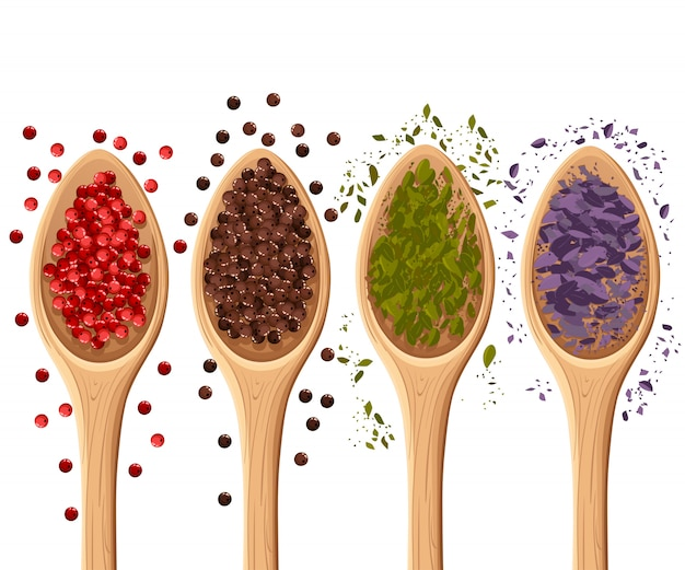 Especiarias nas colheres no elemento de ilustração foto-realista branco na culinária, ingrediente de cozinha, página do site de decoração de pacote e elemento de design de aplicativo móvel.