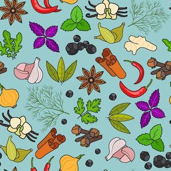 Especiarias padrão colorido sobre fundo azul