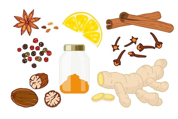 Especiarias, produtos orgânicos, ingredientes culinários de sabor plano