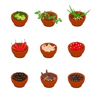 Especiarias saborosas de estilo isométrica e cartoon