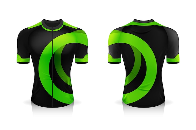 Especificação do modelo cycling jersey. mock up sport t shirt uniforme de gola redonda