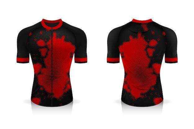 Especificação do modelo cycling jersey. uniforme de gola redonda sport t shirt para vestuário de bicicleta.