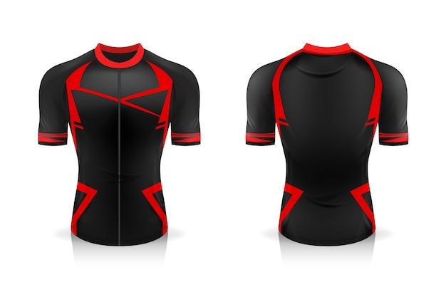 Especificação modelo de jersey para ciclismo. uniforme de gola redonda sport t shirt para vestuário de bicicleta.
