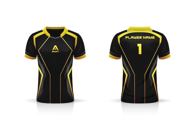 Especificação soccer sport, esport gaming t shirt jersey template. mock up uniforme. projeto de ilustração vetorial