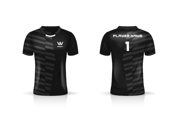Especificação soccer sport, esport gaming t shirt jersey template. uniforme. ilustração
