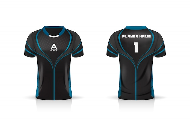 Especificação soccer sport, esport gaming t shirt jersey template.