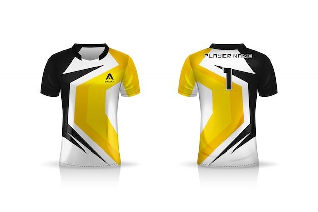Especificação soccer sport, esports gaming t shirt jersey template. uniforme. ilustração
