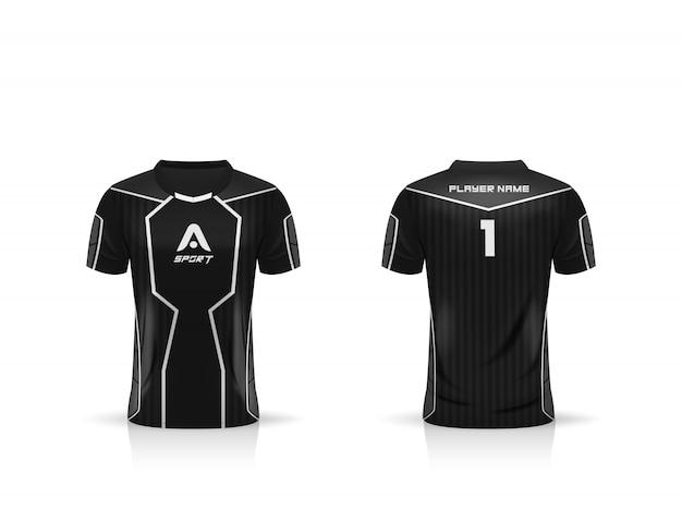 Especificação soccer sport, esports gaming t shirt jersey template. uniforme.