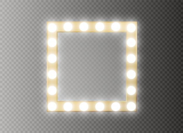 Espelho com fama de luz. quadrado.