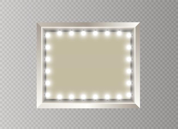 Espelho com fama de luz. retângulo.