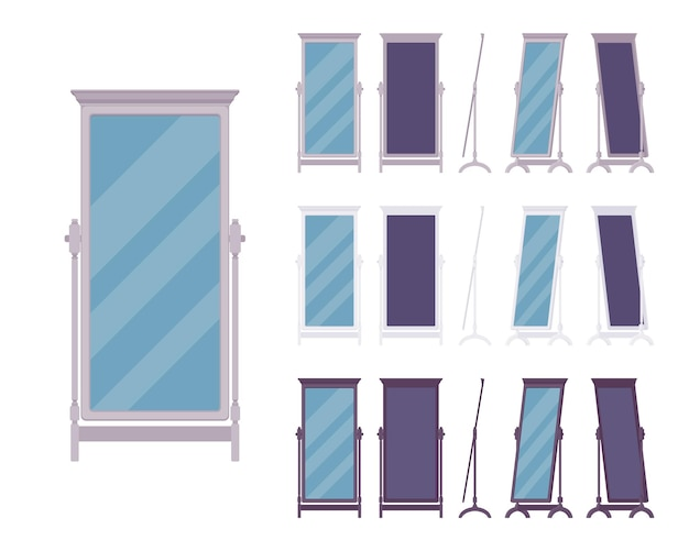 Espelho de chão adequado, camarim de corpo inteiro ou item de aspecto antigo de pé de quarto em um design clássico de madeira. ilustração em vetor horizontal de corpo inteiro dos desenhos animados, visão e cor diferentes