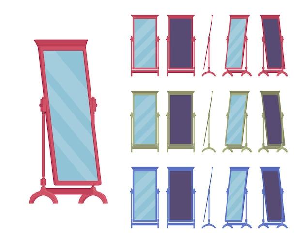 Espelho de chão adequado, pé de camarim de corpo inteiro, design clássico de moldura