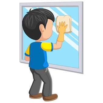 Espelho de limpeza de menino de desenho animado