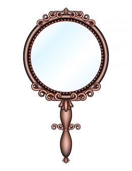 Espelho de mão retro antigo isolado.