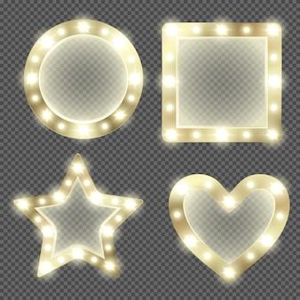 Espelho de maquiagem em moldura de ouro com lâmpadas