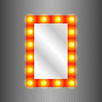 Espelho de maquiagem isolado com luzes de ouro.