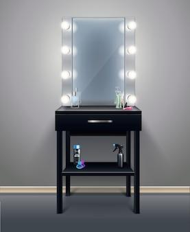 Espelho de maquiagem profissional com luzes acesas na ilustração em vetor composição realista de quarto vazio