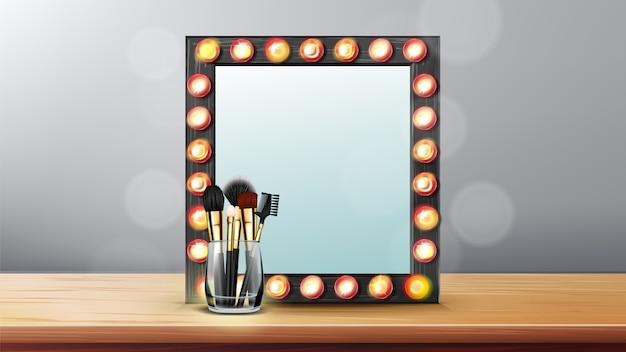 Espelho de maquiagem . quadro de vaidade maquiagem. vestindo o conceito de mulher. quarto dos bastidores