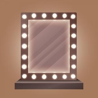 Espelho de maquiagem realista com lâmpadas