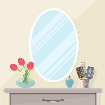 Espelho e penteadeira com pentes. ilustração plana.