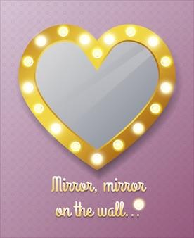 Espelho em forma de coração na parede. reflexo e moldura